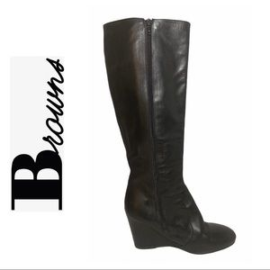 Browns Black Leather Wedge Boots
